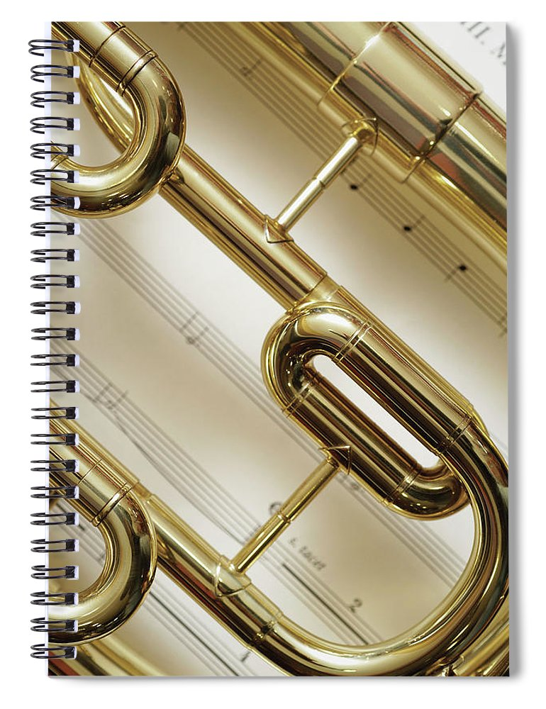 Sheet Music Spiral Notebook featuring the photograph Close-up Of Trumpet by Medioimages/photodisc