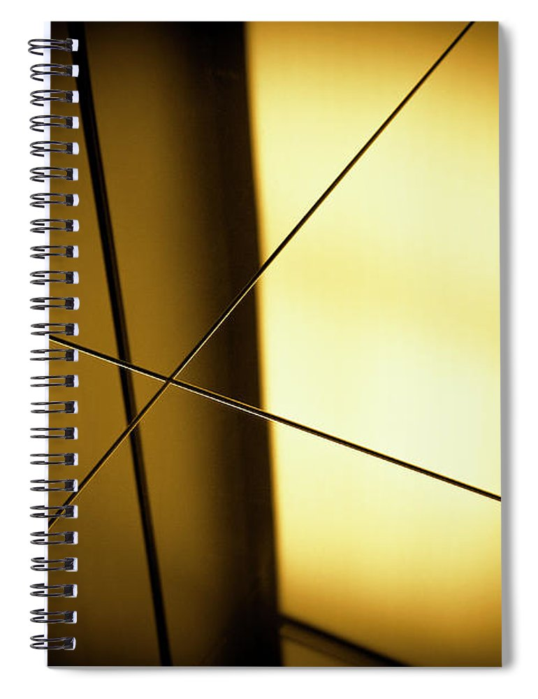 Shadow Spiral Notebook featuring the photograph Close-up Spot Lit Reflection In Yellow by Ralf Hiemisch