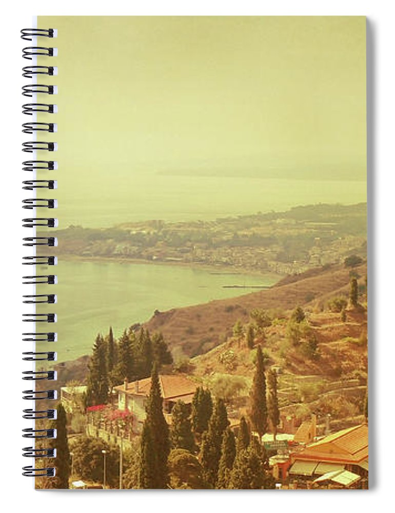 Panoramic Spiral Notebook featuring the photograph Coastline Of Taormina And Giardini Naxos by Tjarko Evenboer / The Netherlands