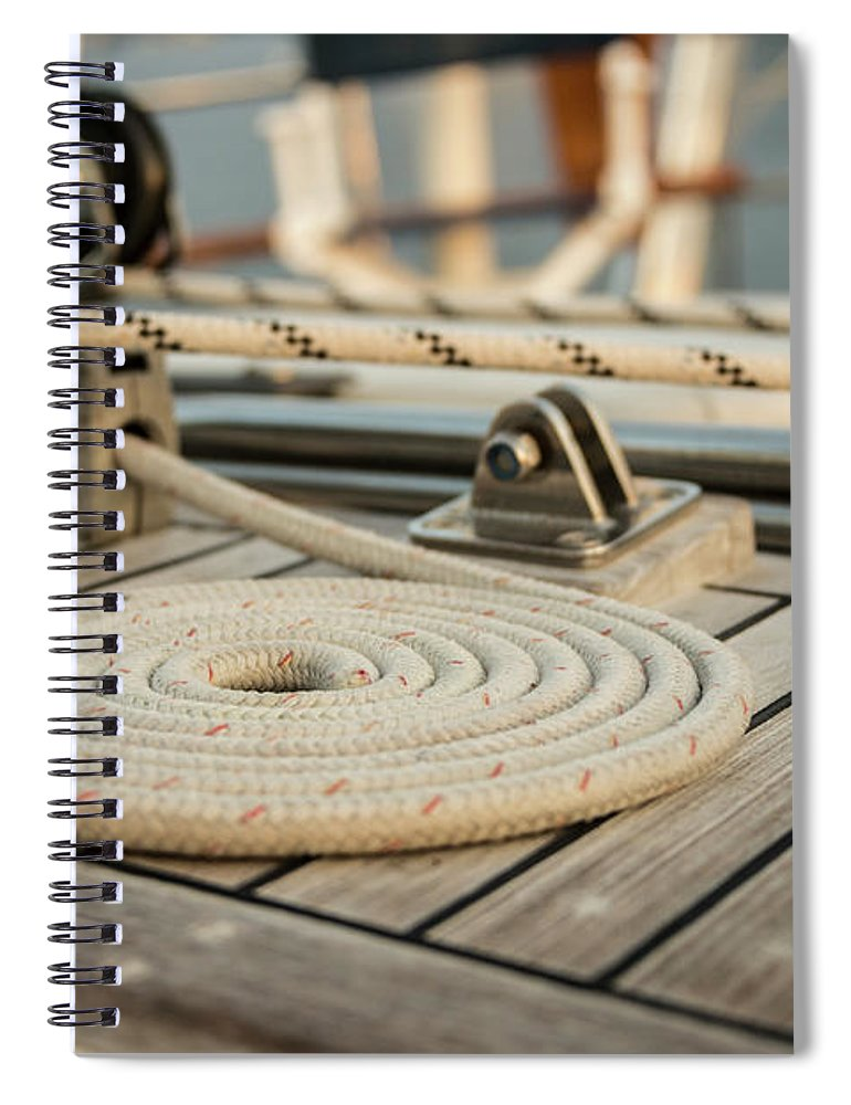 Sailboat Spiral Notebook featuring the photograph Coiled Line, Rope, On Teak Deck Of 62 by Gary S Chapman