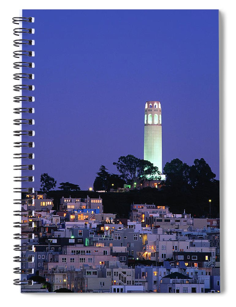 San Francisco Spiral Notebook featuring the photograph Coit Tower, Telegraph Hill At Dusk, San by Thomas Winz