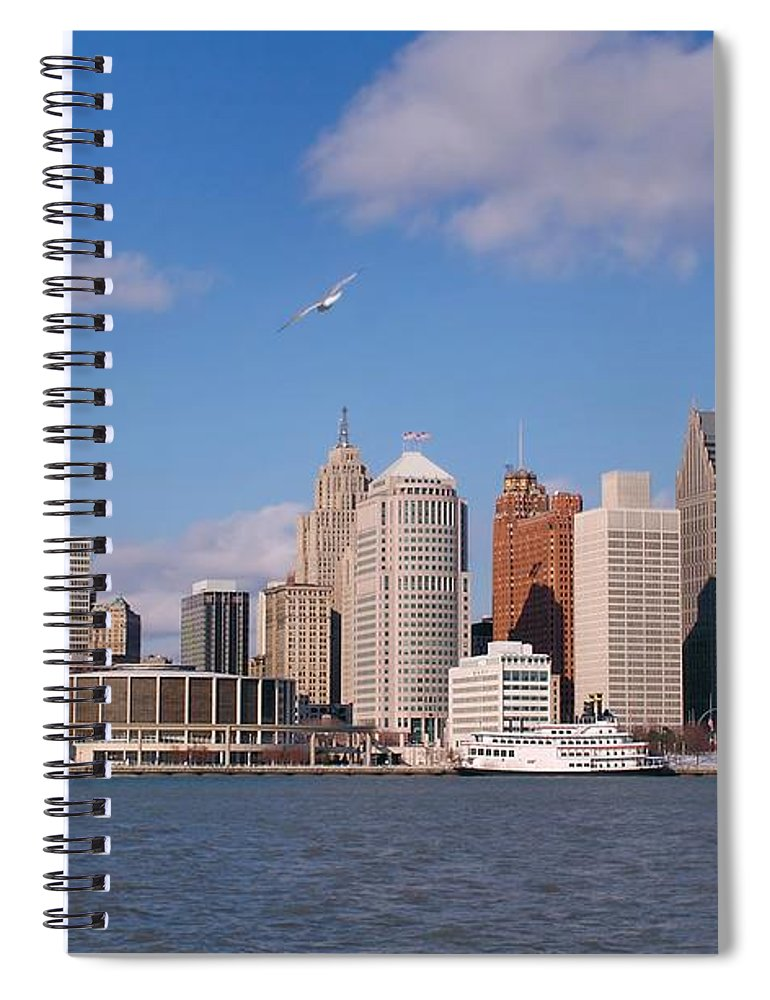 Downtown District Spiral Notebook featuring the photograph Cold Detroit by Corfoto