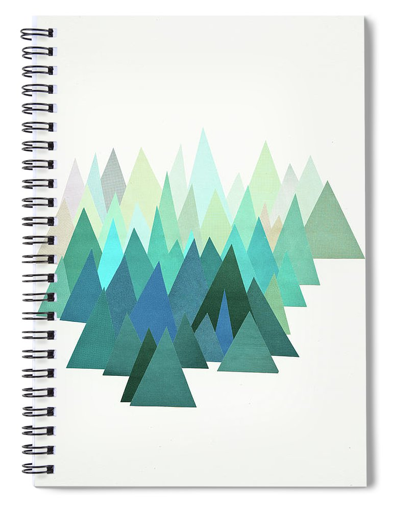Mountains Spiral Notebook featuring the mixed media Cold Mountain by Cassia Beck