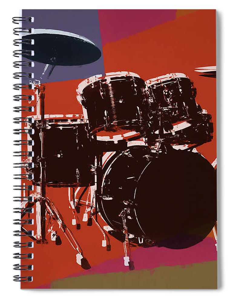 Drum Set Pop Art Spiral Notebook featuring the mixed media Colorful Drum Set Pop Art by Dan Sproul