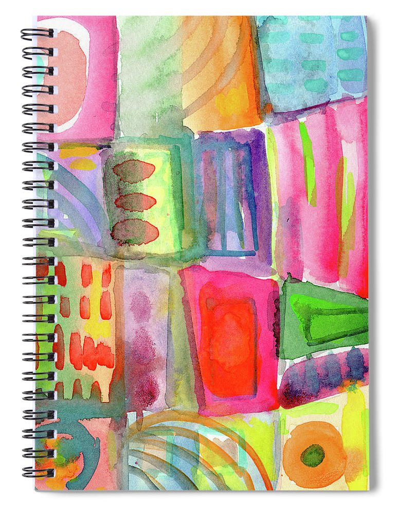 Colorful Spiral Notebook featuring the painting Colorful Patchwork 2- Art by Linda Woods by Linda Woods