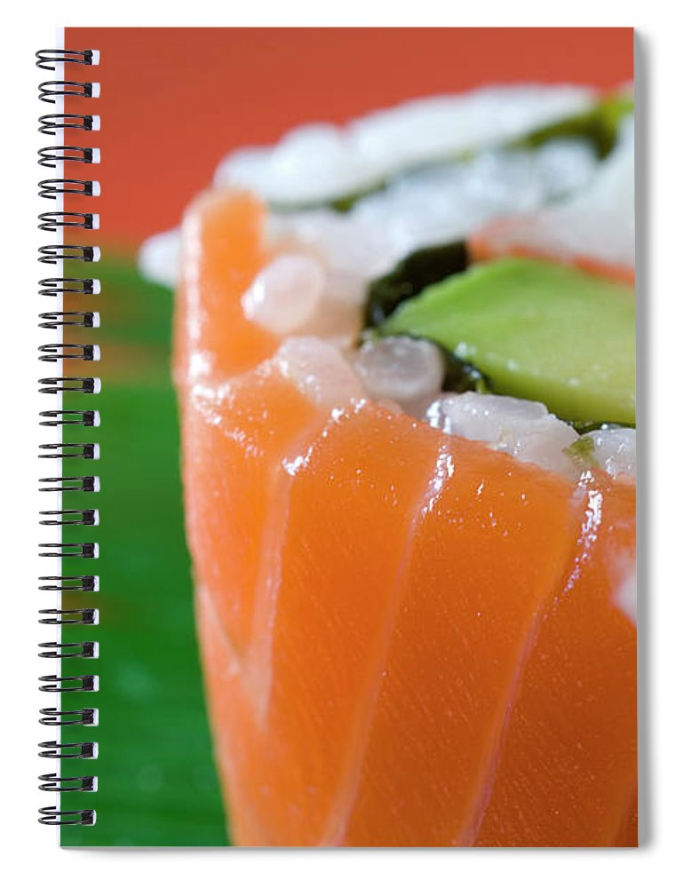 Asian And Indian Ethnicities Spiral Notebook featuring the photograph Colorful Sushi by Creativeye99