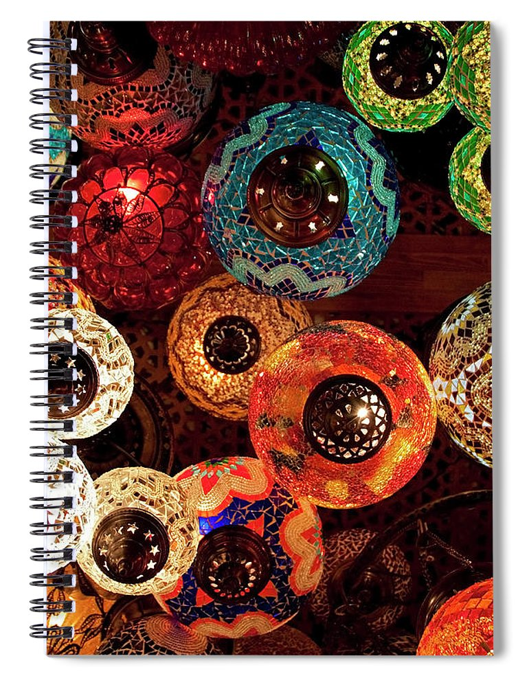 Antique Shop Spiral Notebook featuring the photograph Colorful Turkish Lanterns From The by Wldavies