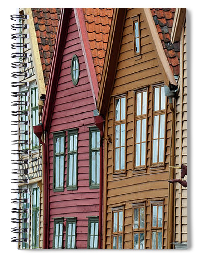 Panoramic Spiral Notebook featuring the photograph Colourful Houses In A Row by Keith Levit / Design Pics