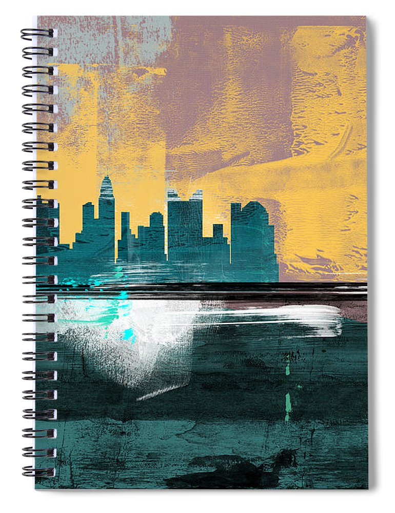 Columbus Spiral Notebook featuring the mixed media Columbus Abstract Skyline I by Naxart Studio