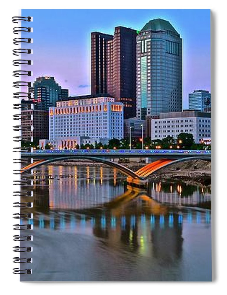 Columbus Spiral Notebook featuring the photograph Columbus Panorama Scioto View by Frozen in Time Fine Art Photography