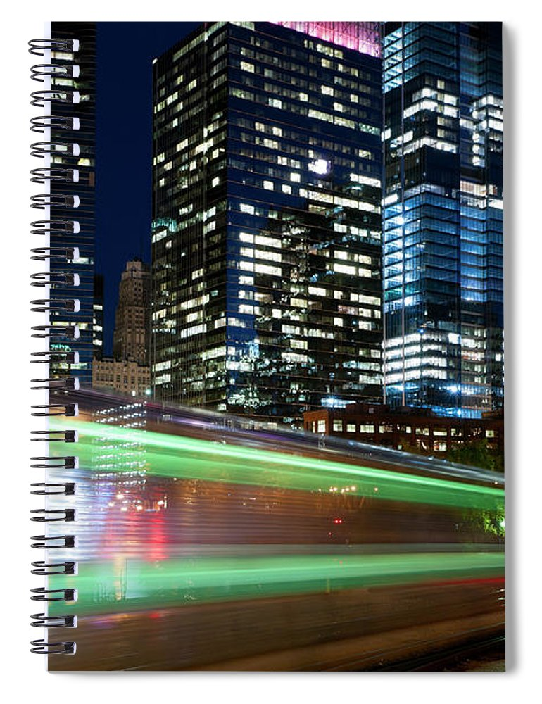 Passenger Train Spiral Notebook featuring the photograph Commuter Train In Downtown Chicago by Chrisp0