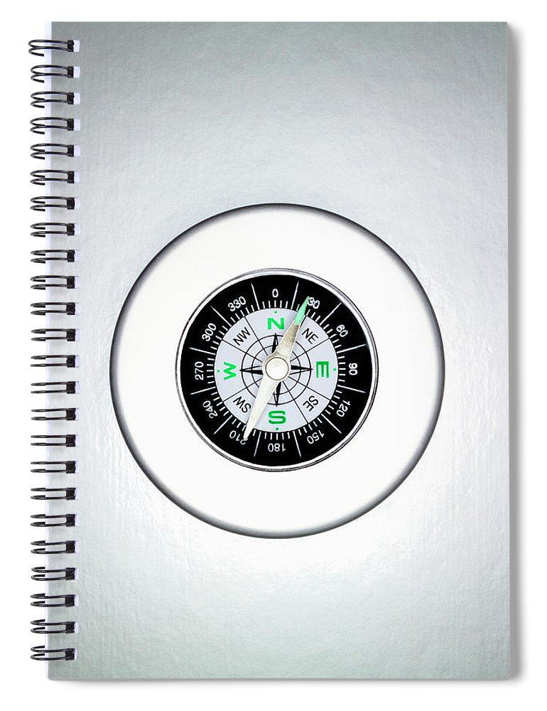 White Background Spiral Notebook featuring the photograph Compass, Overhead View by Martin Poole