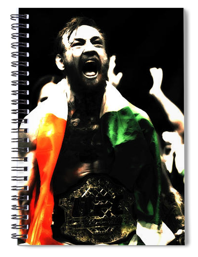 Conor Mcgregor Spiral Notebook featuring the mixed media Conor Mcgregor Getting It Done by Brian Reaves