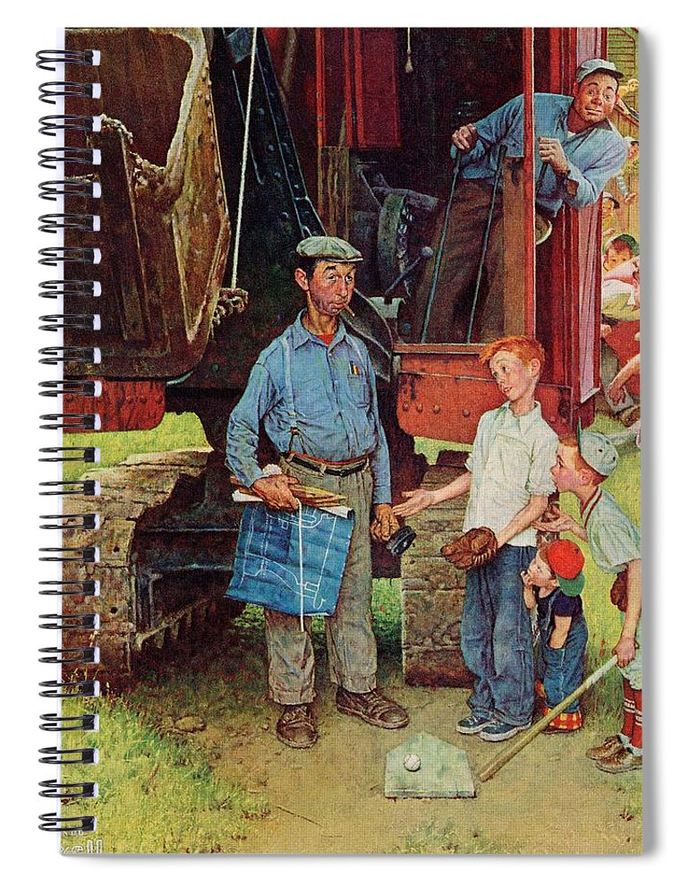 Baseball Spiral Notebook featuring the drawing Construction Crew by Norman Rockwell