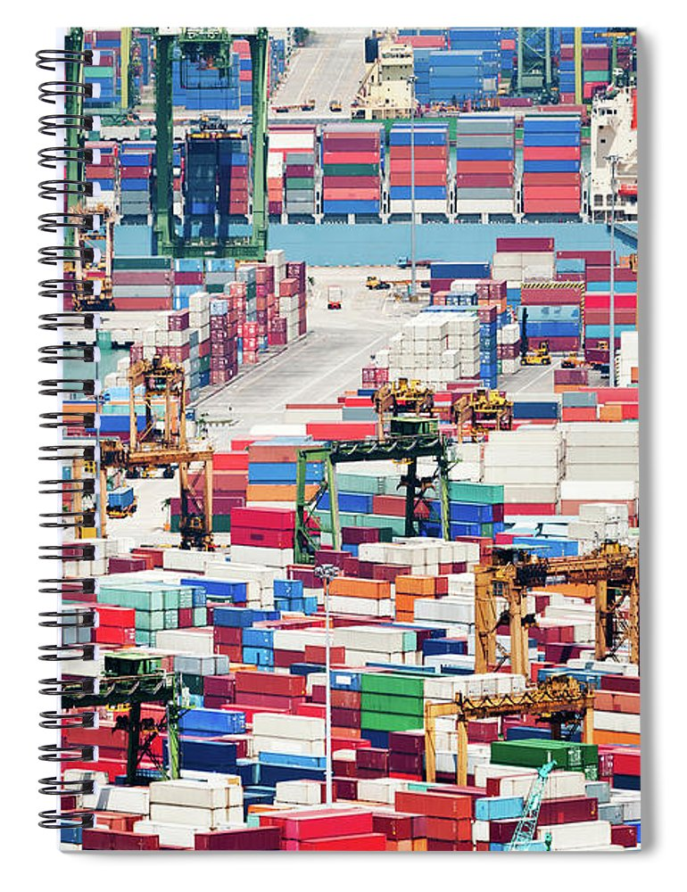 Trading Spiral Notebook featuring the photograph Container Port by Tomml