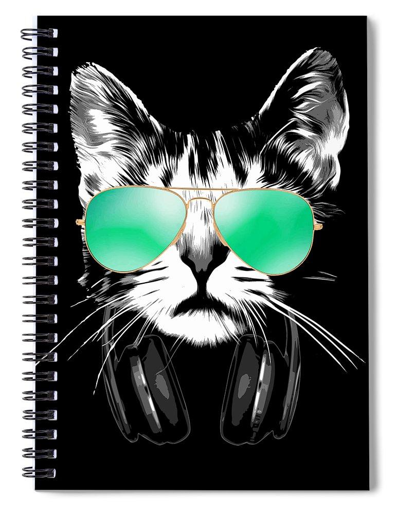 Cat Spiral Notebook featuring the digital art Cool DJ Cat by Filip Schpindel