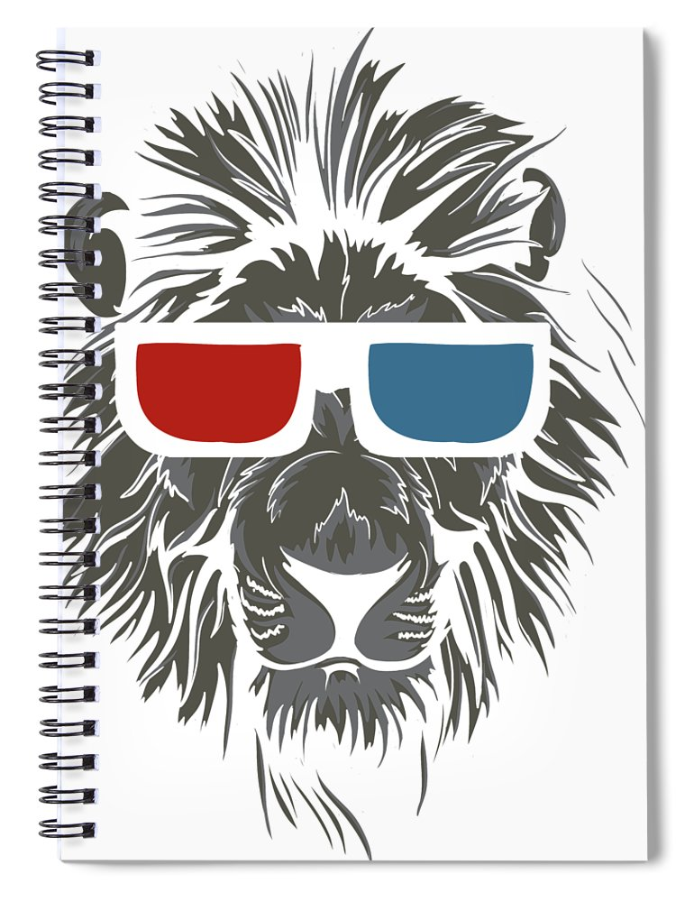 Cat Spiral Notebook featuring the digital art Cool Lion In 3d Glasses by Passion Loft