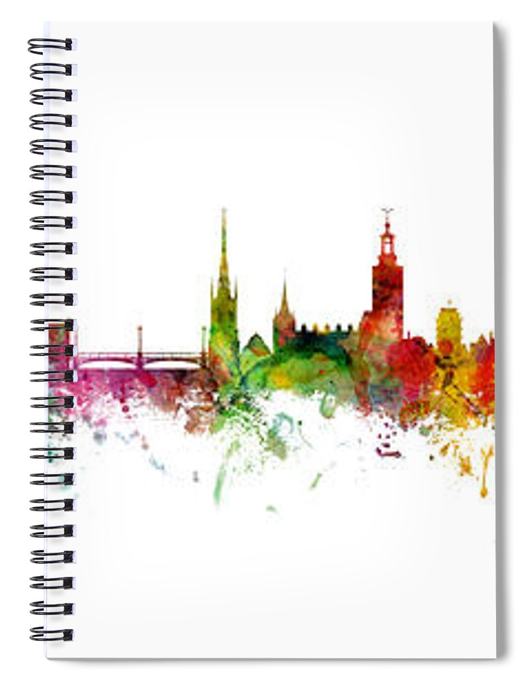Cork Spiral Notebook featuring the digital art Cork, Stockholm And Gothenburg Skyline Mashup by Michael Tompsett