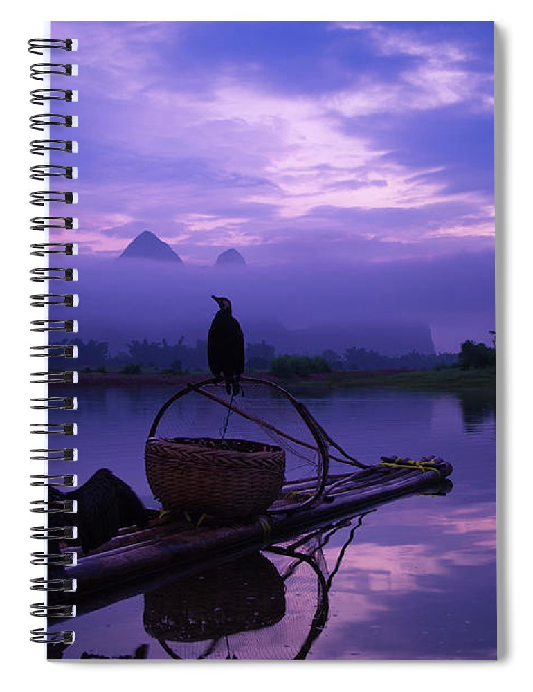 Chinese Culture Spiral Notebook featuring the photograph Cormorant On Li River by Coffeeyu