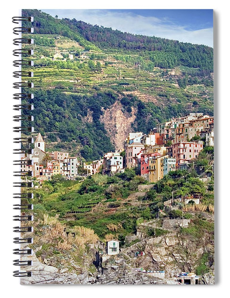 Built Structure Spiral Notebook featuring the photograph Corniglia View by Ellen Van Bodegom