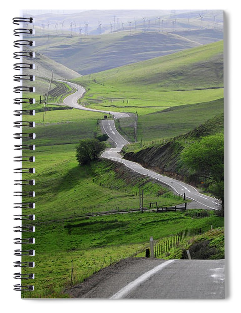 Scenics Spiral Notebook featuring the photograph Country Road Through Green Hills by Mitch Diamond