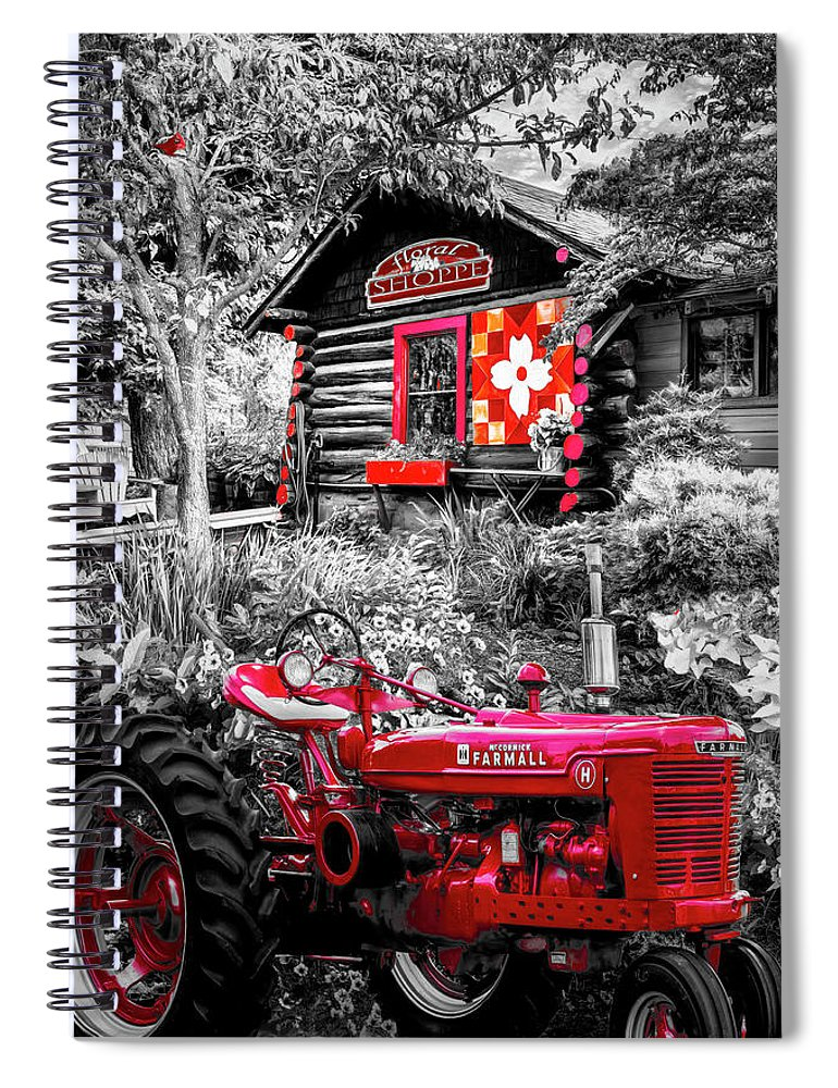 Barns Spiral Notebook featuring the photograph Country Town Charm In Red, Black And White by Debra and Dave Vanderlaan