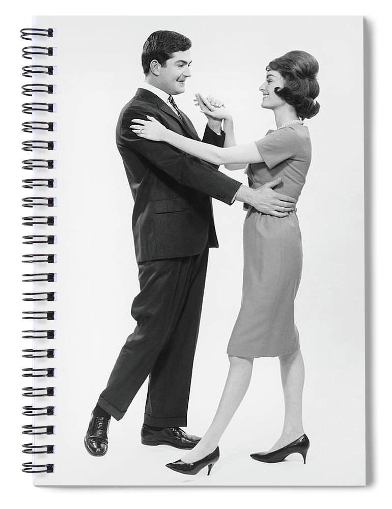 Young Men Spiral Notebook featuring the photograph Couple Dancing In Studio, B&w by George Marks