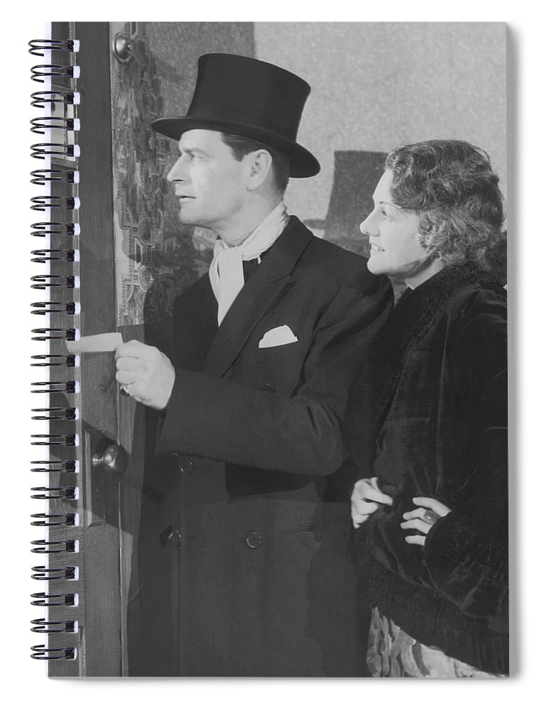Young Men Spiral Notebook featuring the photograph Couple In Formal Wear Showing Pass To by Fpg