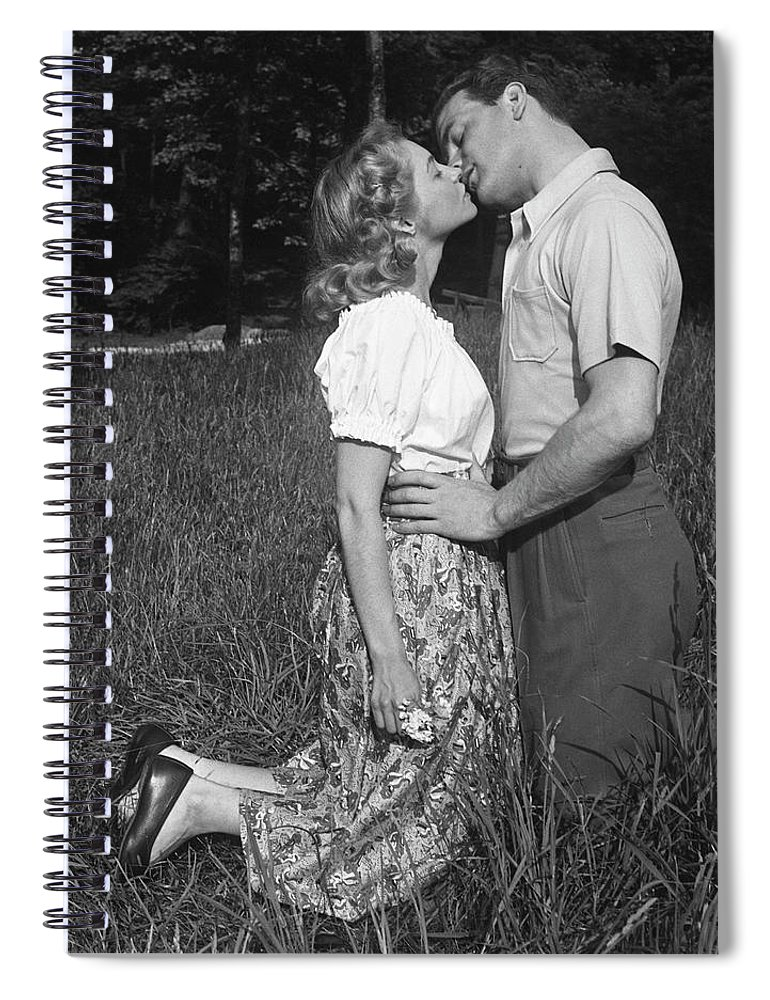 Heterosexual Couple Spiral Notebook featuring the photograph Couple Kissing Outdoors by George Marks