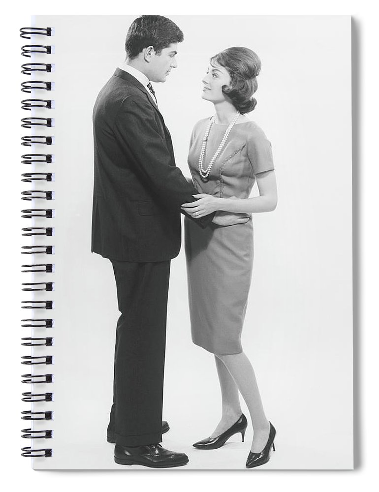 Heterosexual Couple Spiral Notebook featuring the photograph Couple Looking In Eyes In Studio, B&w by George Marks