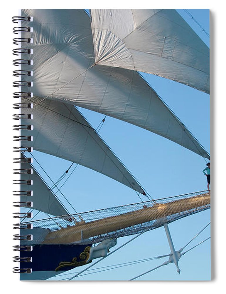 Heterosexual Couple Spiral Notebook featuring the photograph Couple On Bowsprit Of Sailing Ship by Holger Leue
