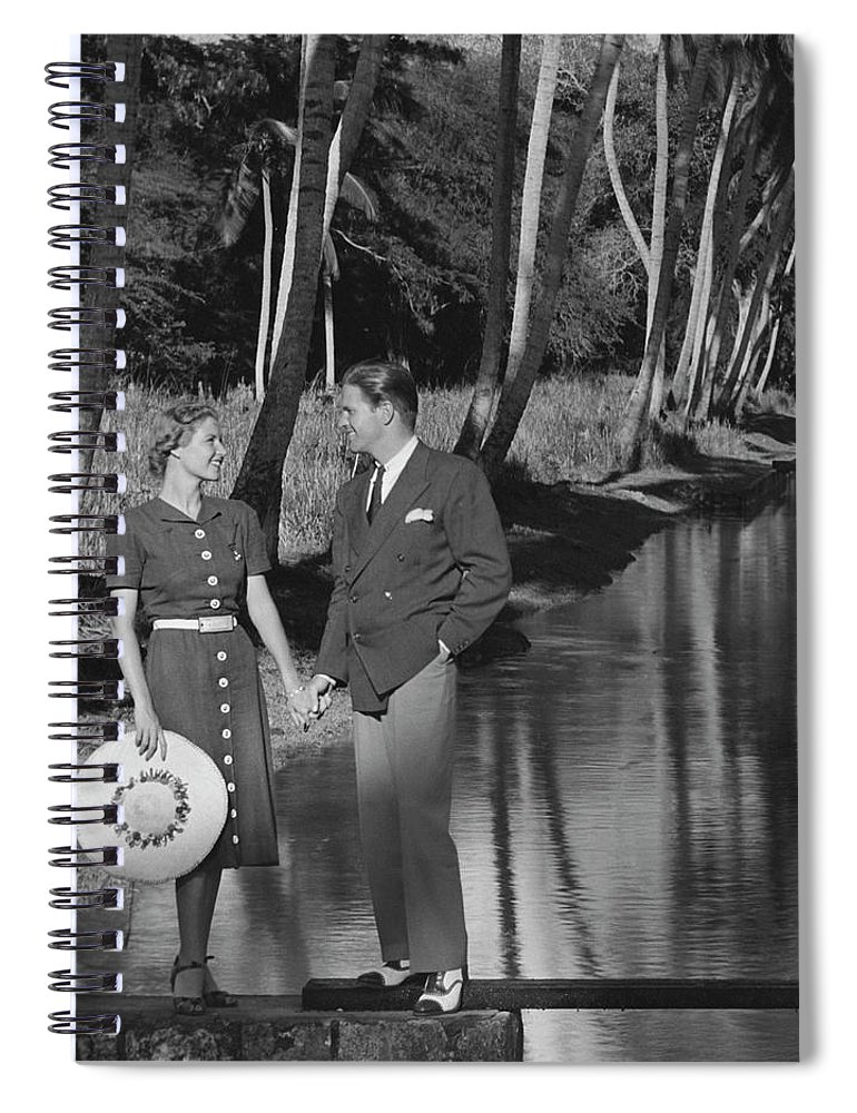 Heterosexual Couple Spiral Notebook featuring the photograph Couple Outdoors by George Marks