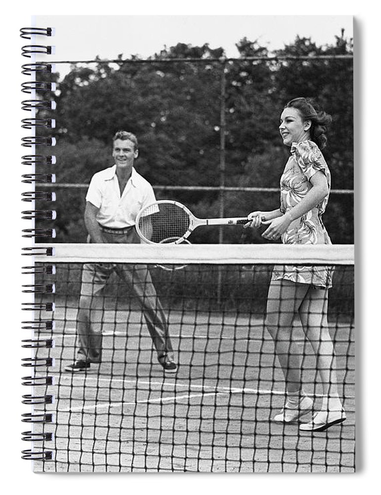 Heterosexual Couple Spiral Notebook featuring the photograph Couple Playing Tennis by George Marks
