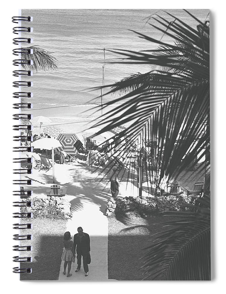 Heterosexual Couple Spiral Notebook featuring the photograph Couple Walking In Path Towards Beach by George Marks