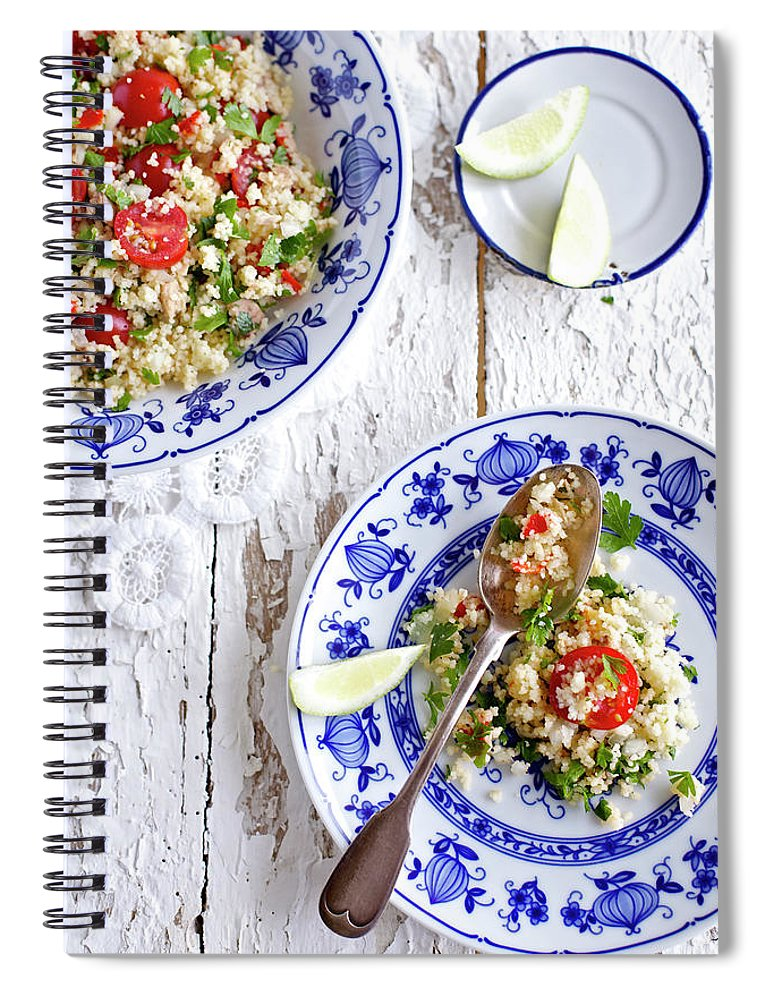 Spoon Spiral Notebook featuring the photograph Couscous Salad by Ingwervanille