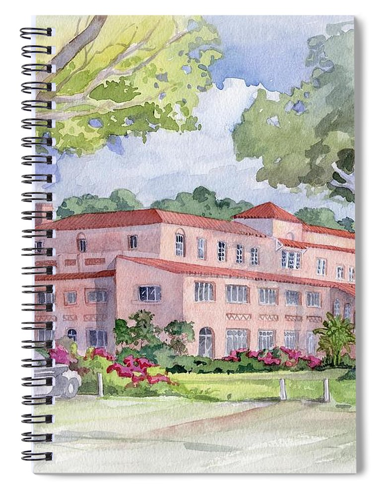 Watercolor Spiral Notebook featuring the painting Cove Hotel From The Lawn by Paul Brent