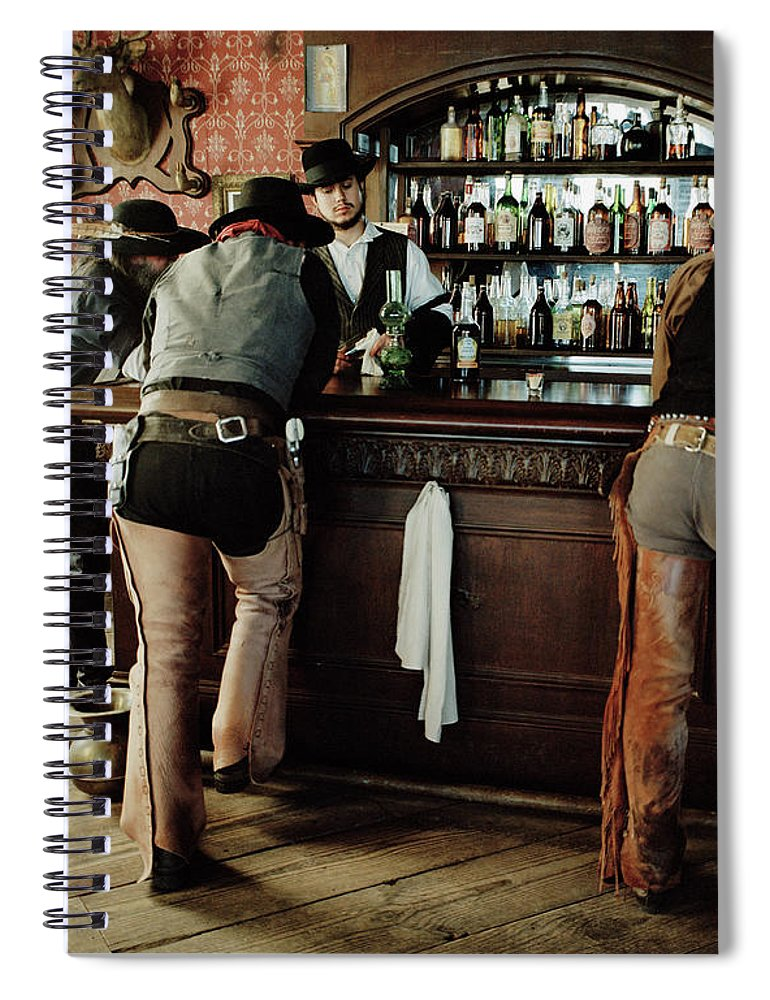 Young Men Spiral Notebook featuring the photograph Cowboys At Saloon by Matthias Clamer