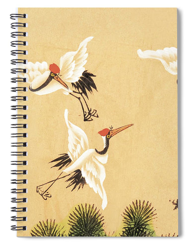 Chinese Culture Spiral Notebook featuring the digital art Crane by Vii-photo
