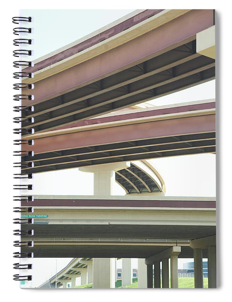 Crisscross Spiral Notebook featuring the photograph Crisscrossing Freeway Overpasses by Siri Stafford