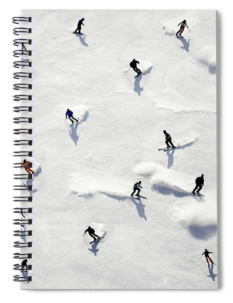 Skiing Spiral Notebook featuring the photograph Crowded Holiday by Mistikas