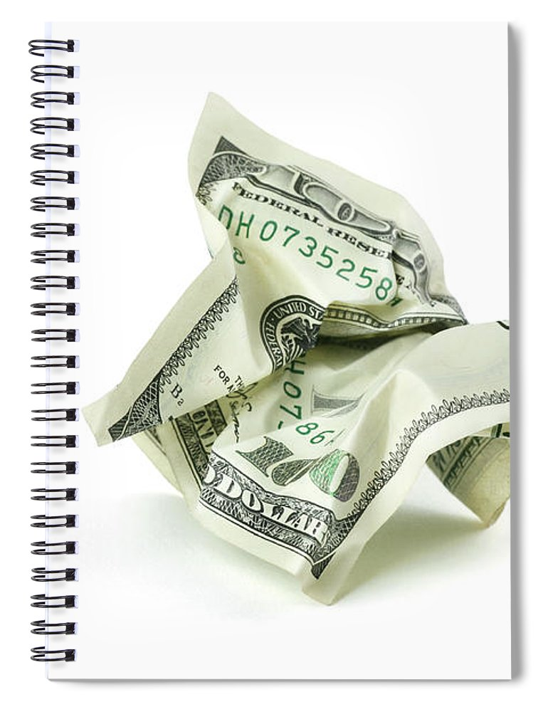 Debt Spiral Notebook featuring the photograph Crumpled Money With Clipping Path by Georgepeters