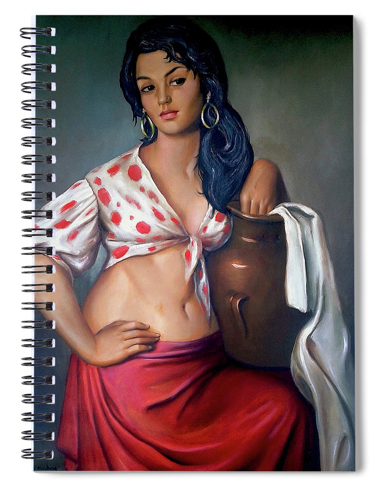 Lady Spiral Notebook featuring the painting Cuban Girl by Jose Manuel Abraham
