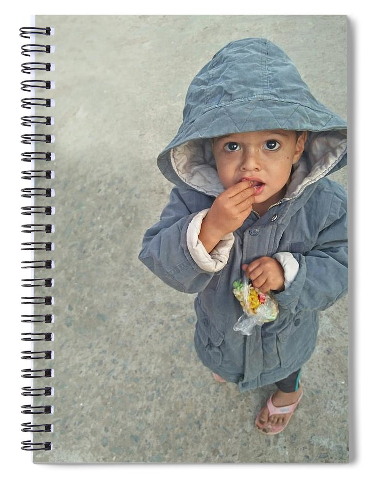 Cute Spiral Notebook featuring the photograph Cute Baby by Imran Khan
