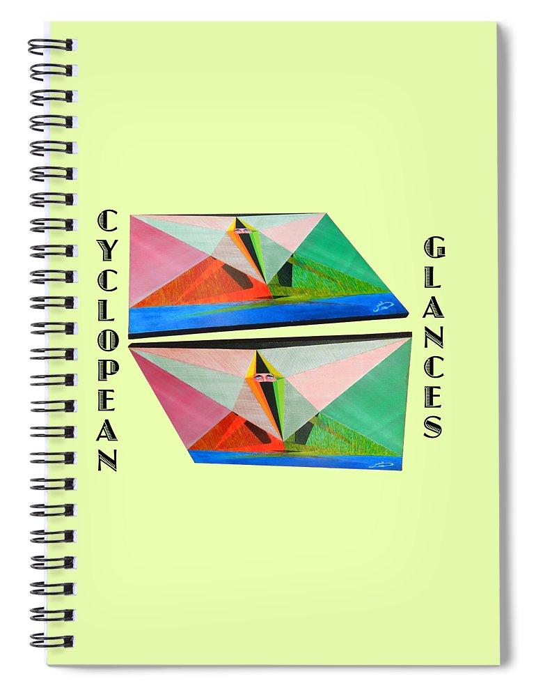 Art Spiral Notebook featuring the painting Cyclopean Glances Matriarch by Michael Bellon