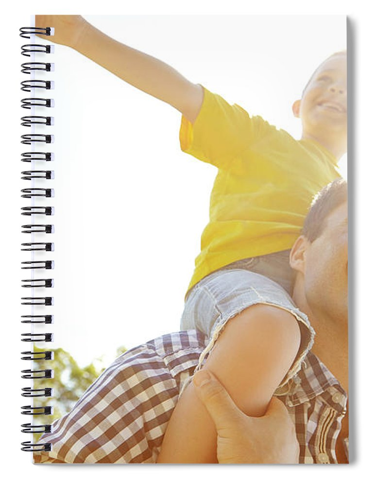 Human Arm Spiral Notebook featuring the photograph Dad Makes Me Feel Like I Can Fly by Gradyreese