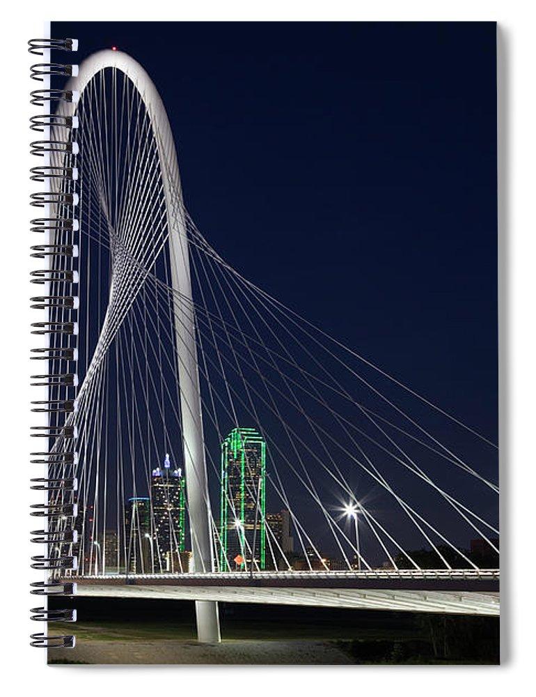 Suspension Bridge Spiral Notebook featuring the photograph Dallas' Suspension Bridge At Night by Dhughes9