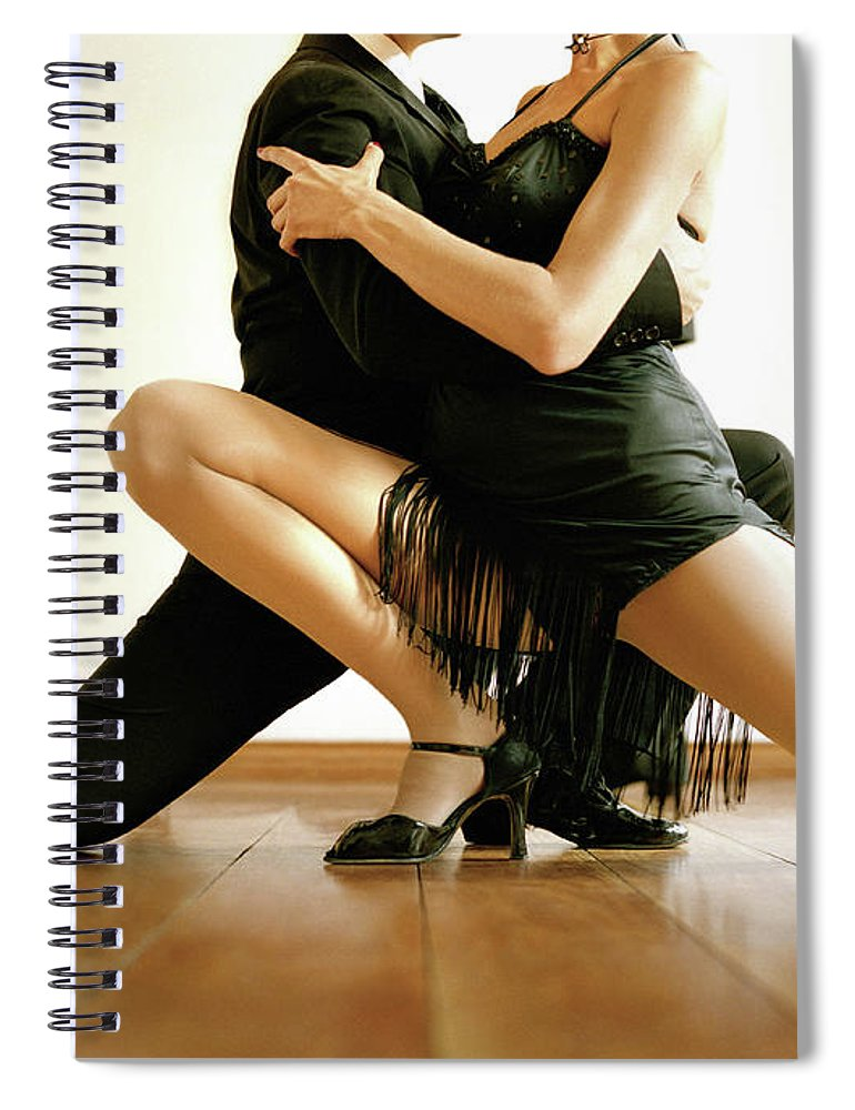 Heterosexual Couple Spiral Notebook featuring the photograph Dancers In Tango Position, Low Section by David Sacks