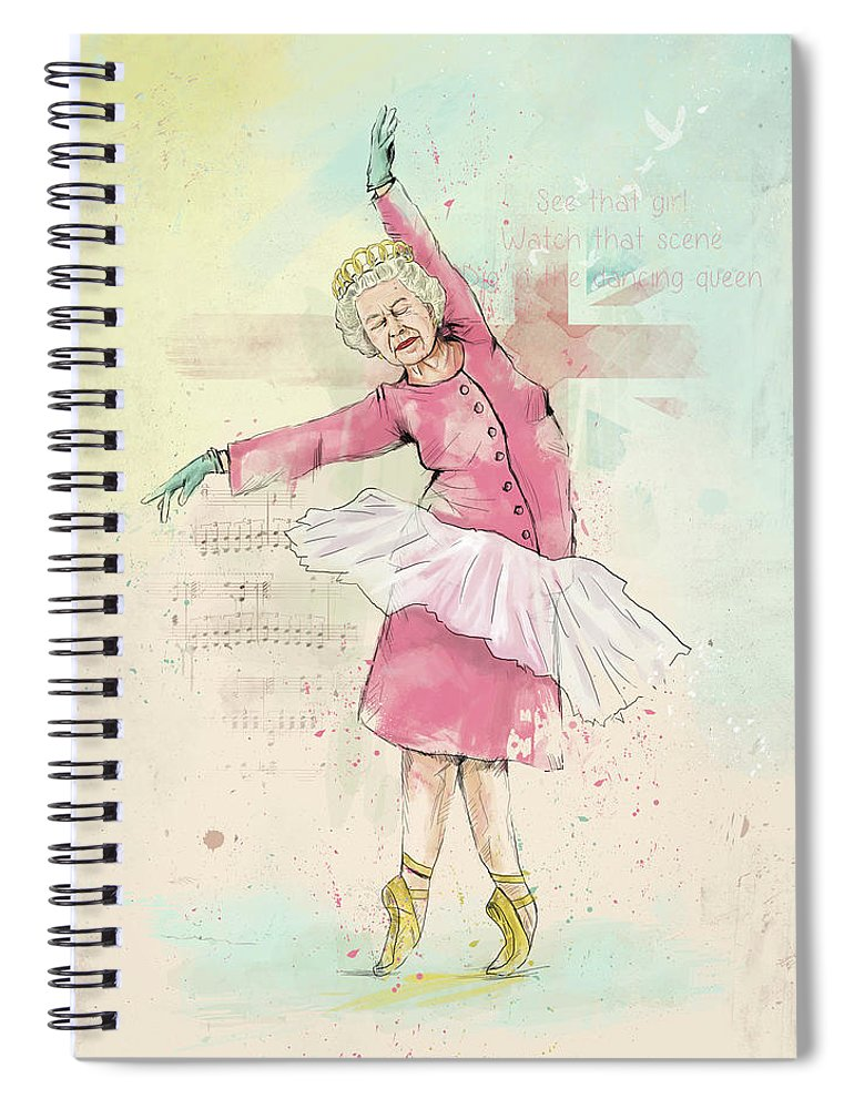 Queen Spiral Notebook featuring the mixed media Dancing queen by Balazs Solti