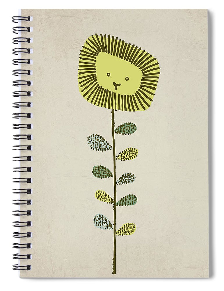 Lion Spiral Notebook featuring the drawing Dandy by Eric Fan