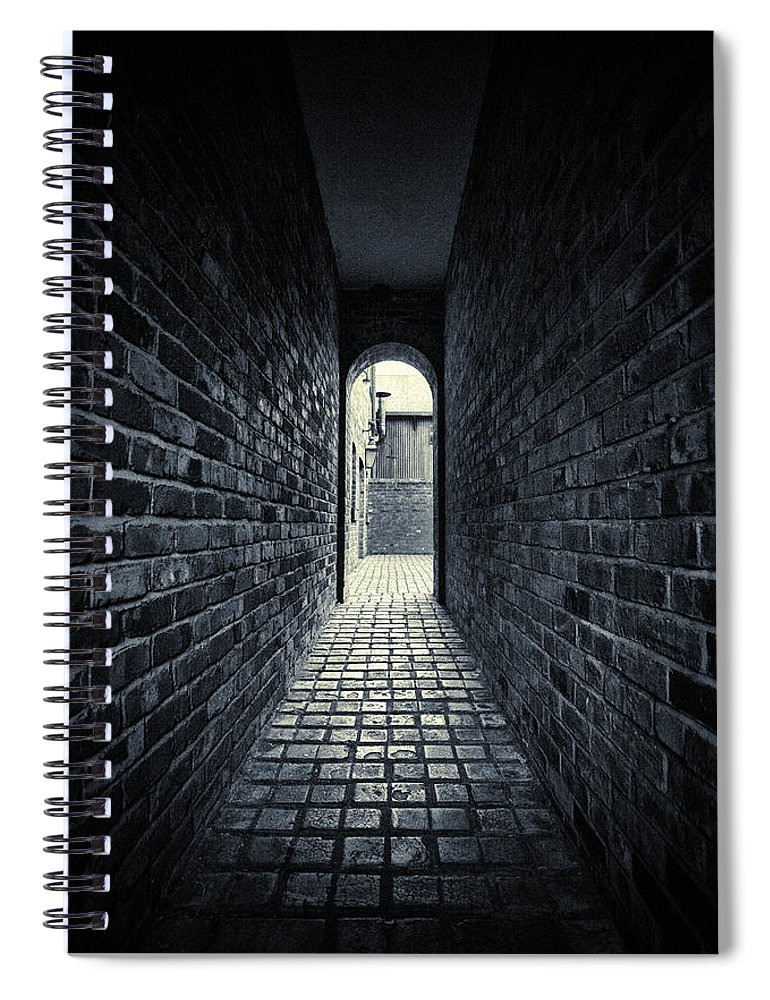 Horror Spiral Notebook featuring the photograph Dark Alley by Duncan1890